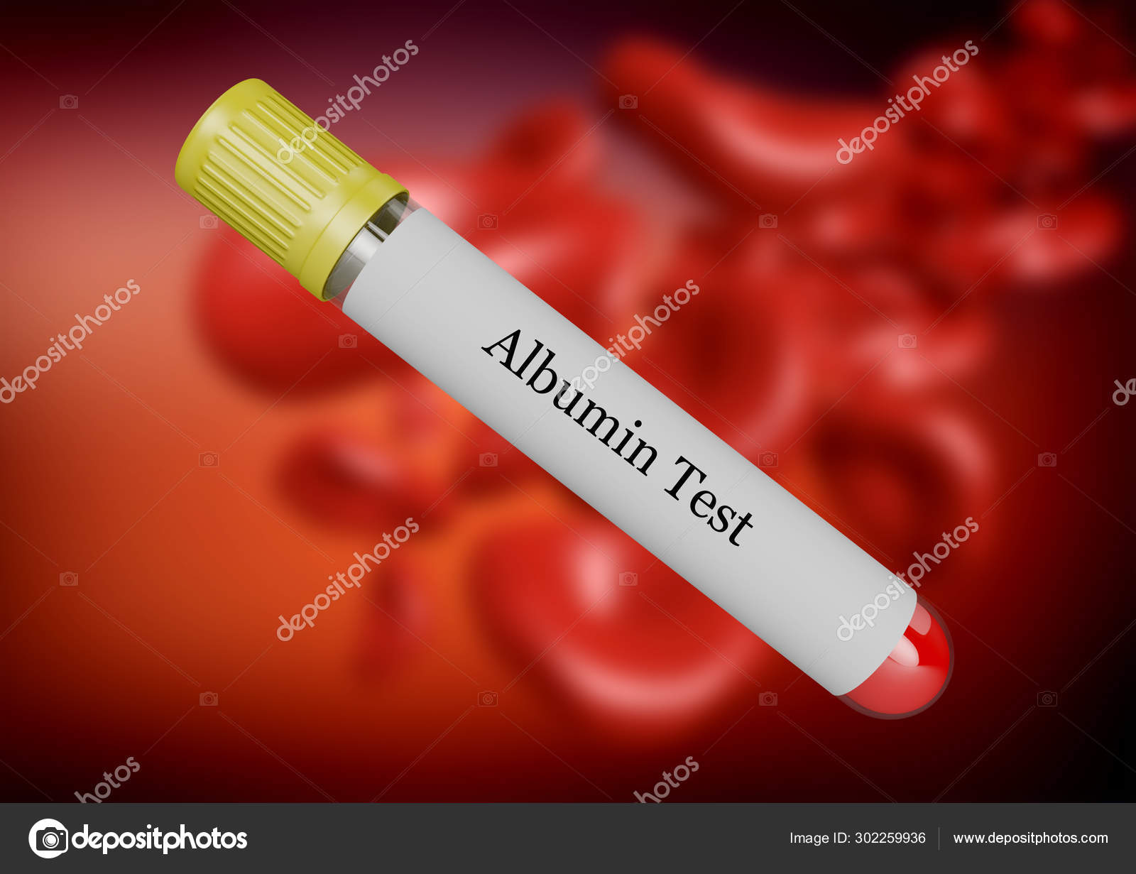 Albumin test in blood collected in test tube isolated by selective focus. 3d rendering